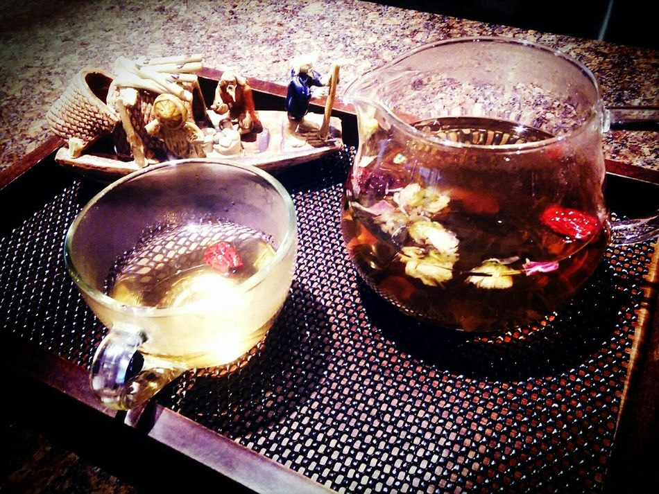 "A little bit of honey, a little bit of sugar. Eight treasure chrysanthemum tea :"") Tea Gentle"