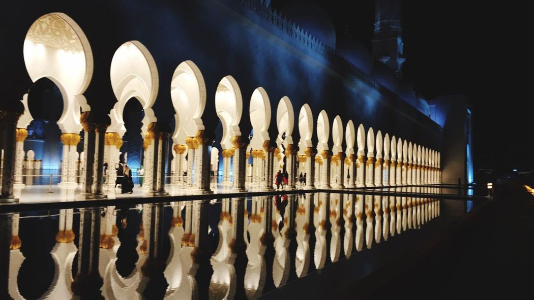 In A Row Illuminated Repetition Architectural Column Group Of Objects Pillar Arch Order Colonnade Dark Lens Flare Arched Place Of Worship Conformity Large Group Of Objects Arcade
