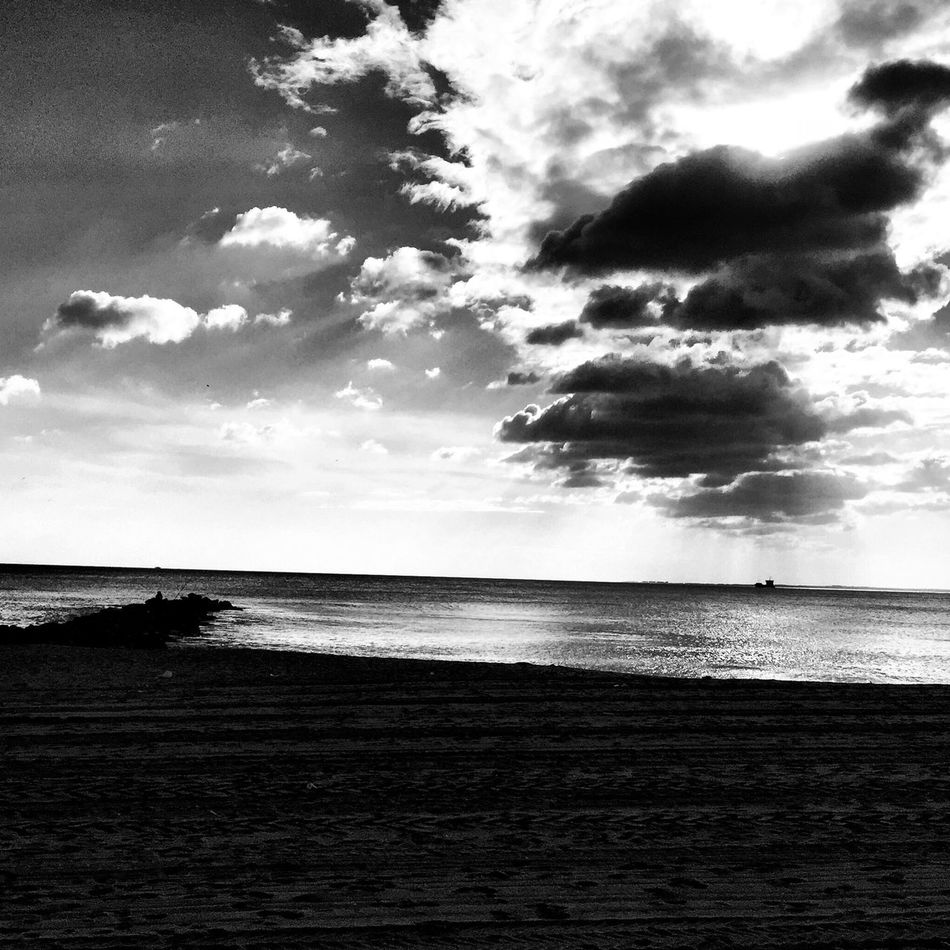 Almería Black And White Clouds And Sky Blackandwhite Streetphoto_bw Monochrome Bw_collection Sea