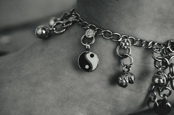 The good in bad, and the bad in good. Ying Yang Anklet Black And White
