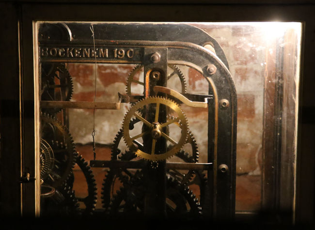 Church Clock Clock Unit Clockwork Illuminated Latvia Latvija Machinery