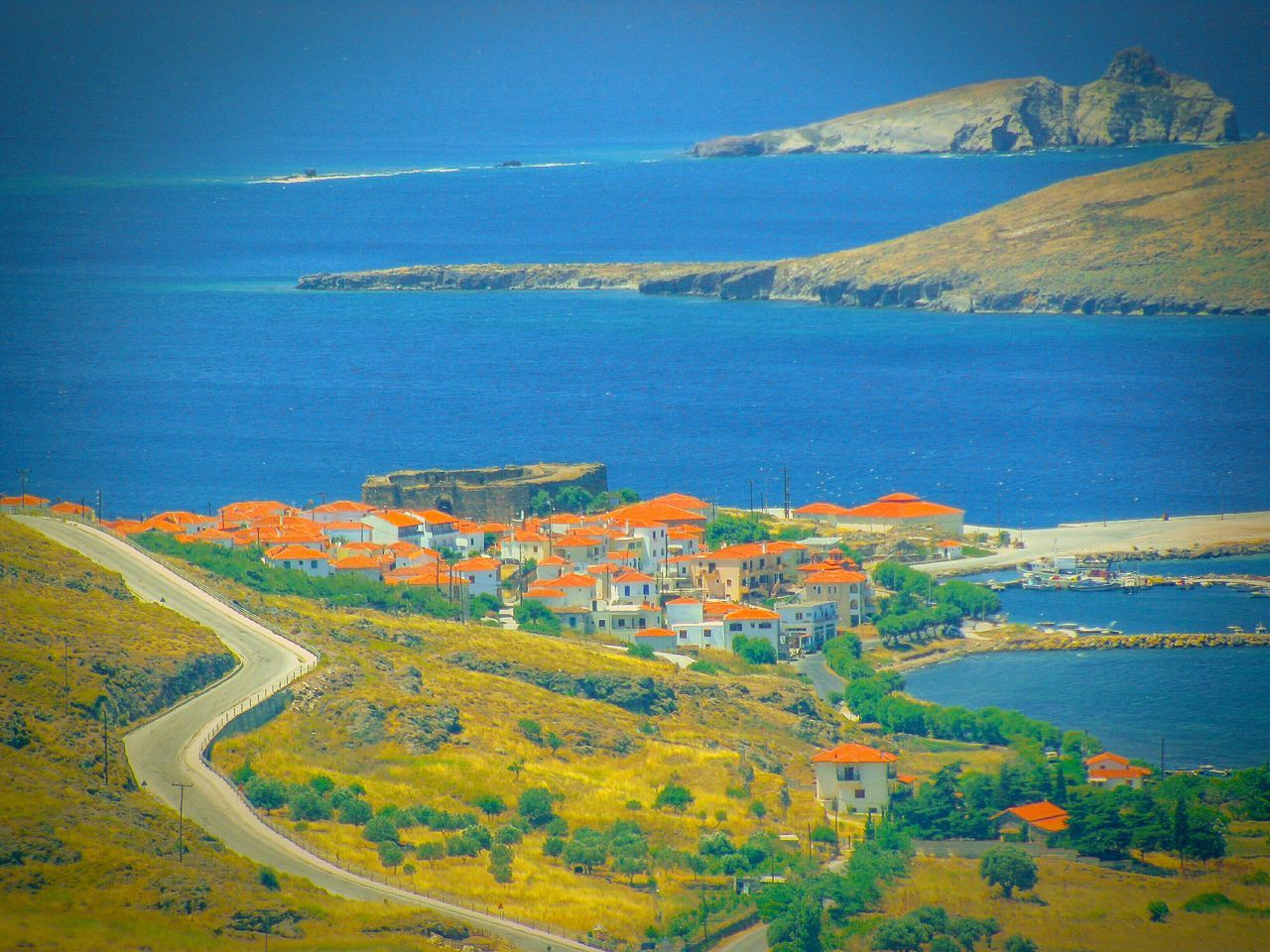 Village Village View Seaside Village Houses Roofs Red Roofs Islets Countryside Country Road Seascape Landscape_Collection Landscapes Landscape Lesvos Island Greek Islands The Great Outdoors - 2016 EyeEm Awards Port Small Port Shades Of Blue Blue Sea Blue Horizons View From The Top Viewpoint A Bird's Eye View