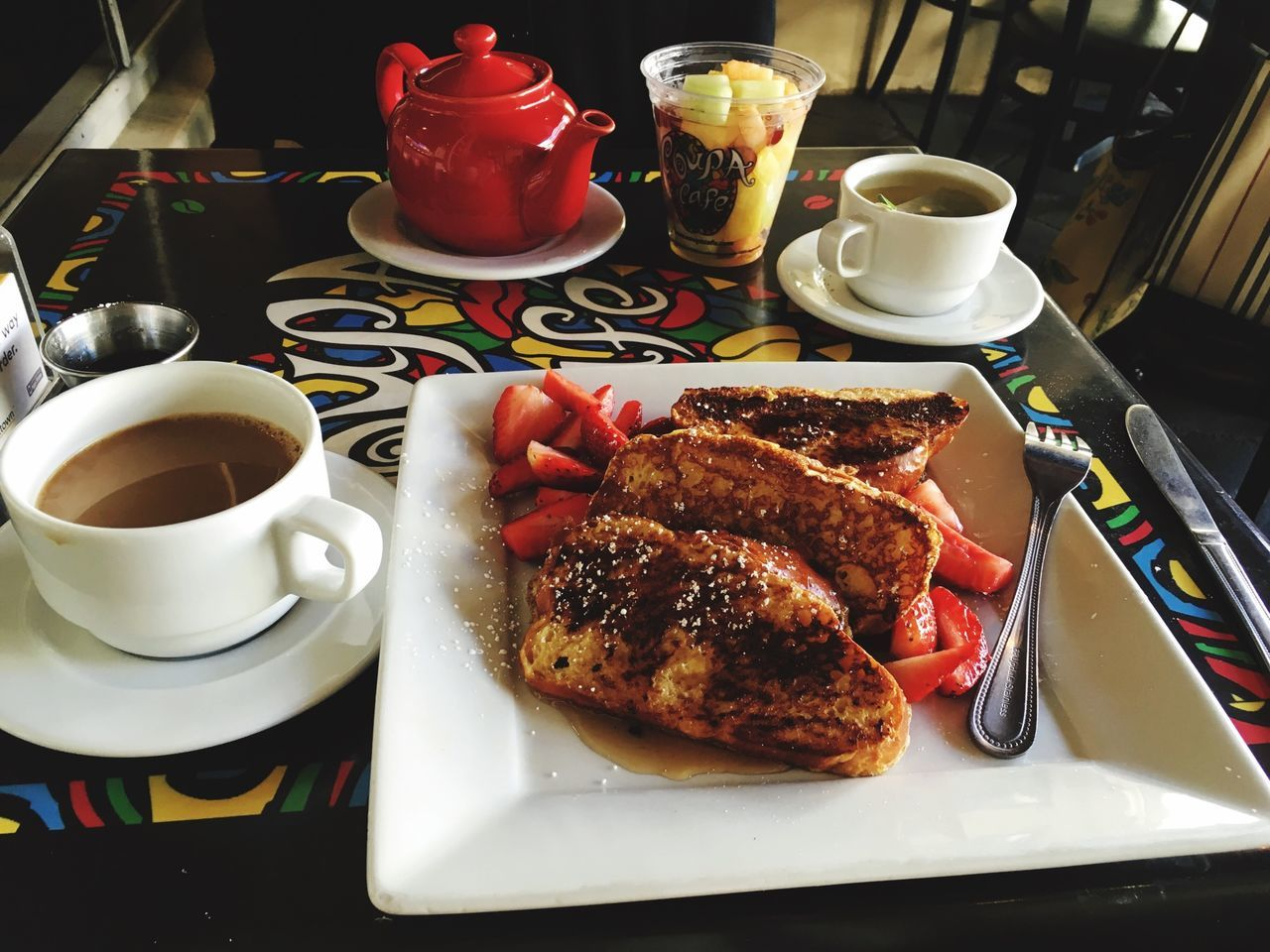 High Angle View Of French Toast With Coffee On Table
