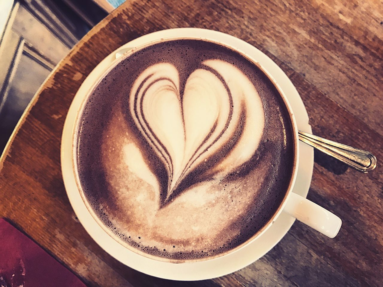 Coffee - Drink Coffee Cup Heart Shape Cappuccino Table Froth Art Love High Angle View Drink Food And Drink Indoors  Latte Close-up Frothy Drink Refreshment No People Brown EyeEmNewHere Enjoying Life Photography Hello World Munich Travel