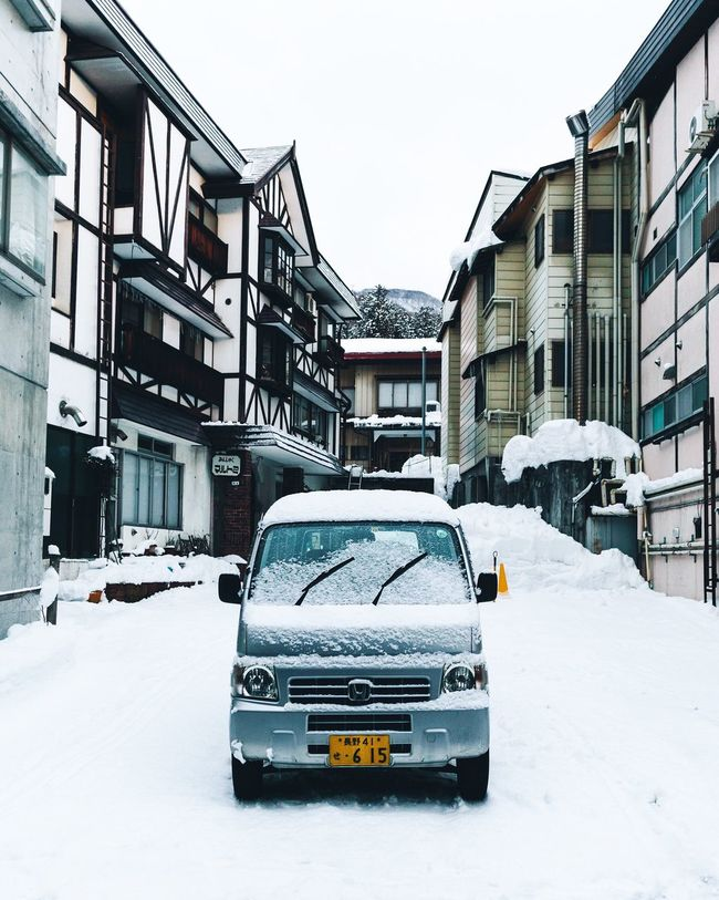 Japan. Nozawaonsen Explore Visitjapanau Snow Winter Cold Temperature Building Exterior Car Built Structure City Mode Of Transport Transportation Architecture Outdoors Land Vehicle Stationary No People Day Snowing Nature First Eyeem Photo