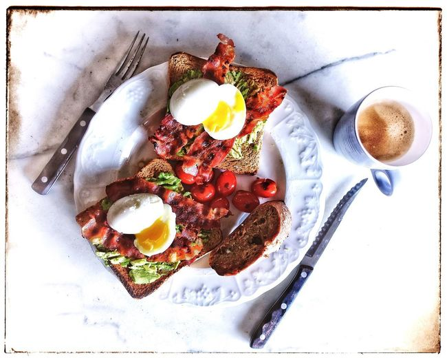 Food And Drink Egg Breakfast Plate Freshness Coffee Cup Food No People Coffee - Drink Ready-to-eat High Angle View Serving Size Egg Yolk Healthy Eating Australian Brekkie Time Smashed Avocado Crispy Bacon Roasted Tomatoes Toast