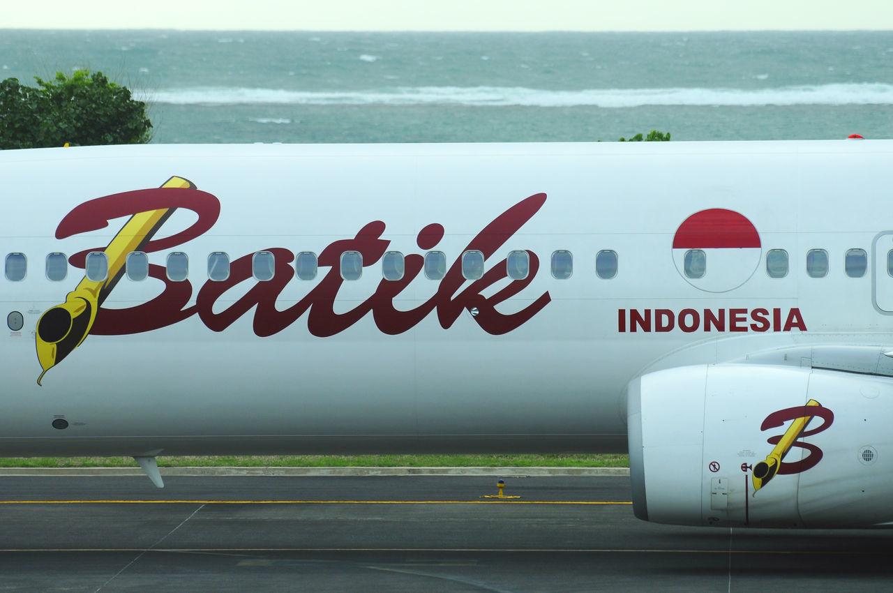 part of local airplane Airplane Airport Bali Batikair Boeing 737 Communication Day INDONESIA Ngurahraiairport No People Outdoors Part Of Runaway Text Minimalist Architecture TheWeekOnEyeEM Green Color EyeEmNewHere Transportation
