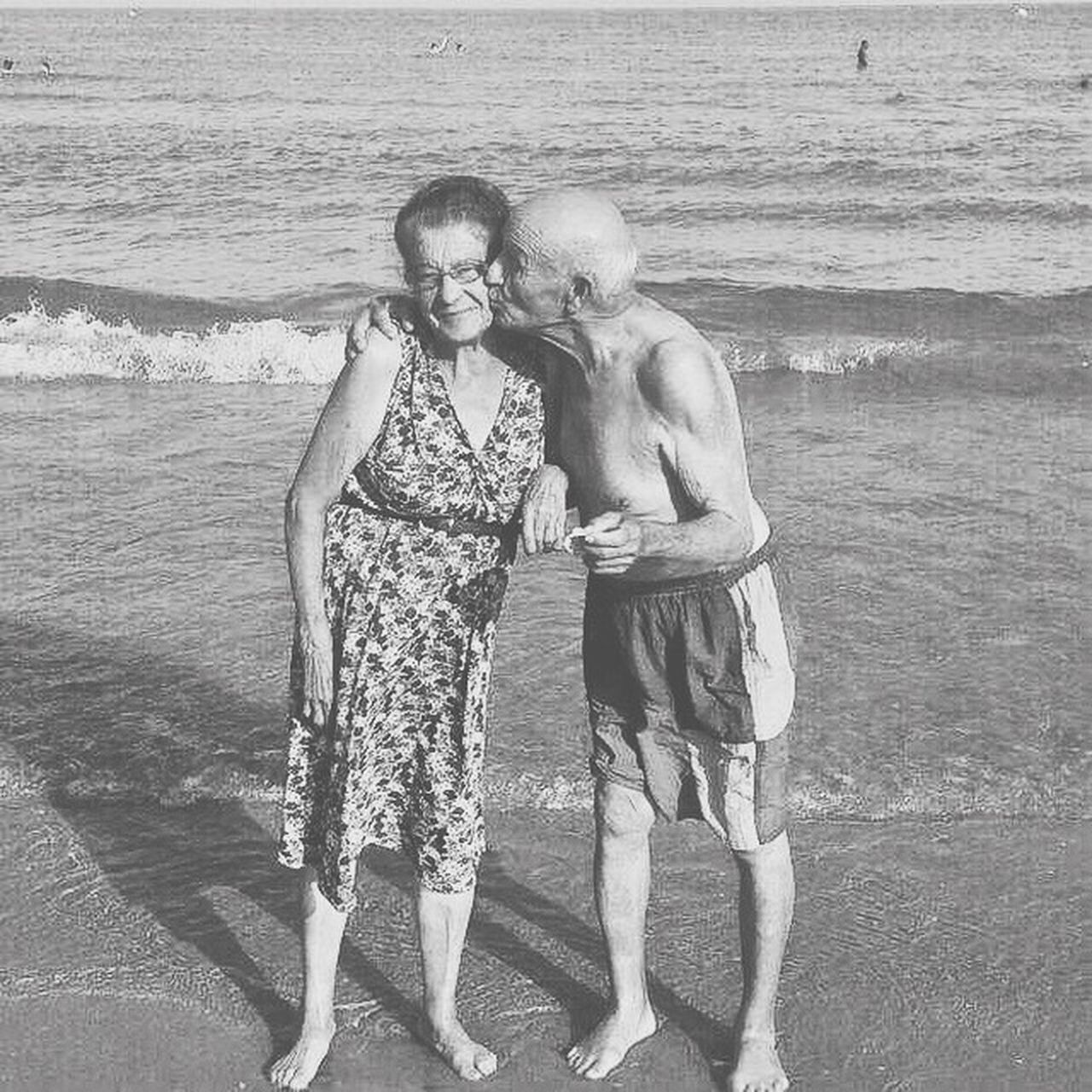 Old love (2014) Happiness Smiling Two People Senior Adult Togetherness Sea Beach Bonding Full Length Summer Water Vacations Outdoors Leisure Activity Friendship Portrait Real People Senior Men Adult People