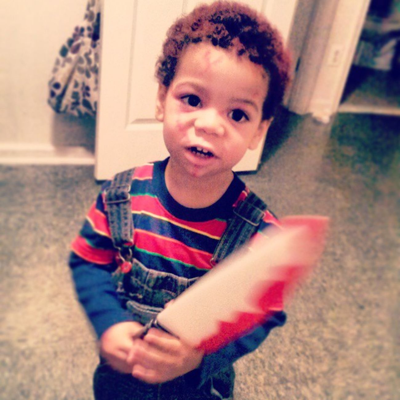 He couldnt wait to put his costume on this morning LOL Happyhalloween FromPop Chucky