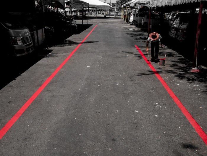 Red Color Red Lines One Person Painting Road Marking Mode Of Transport Eye4streetphotography Street Check This Out Street Photography Streetphotography City Street Yellow Take It Or Leave It EyeEm Best Shots - The Streets Urban Exploration Blackandwhite EyeEm Best Shots Graffiti Street Art Kota Kinabalu Malaysia Borneo Sabah