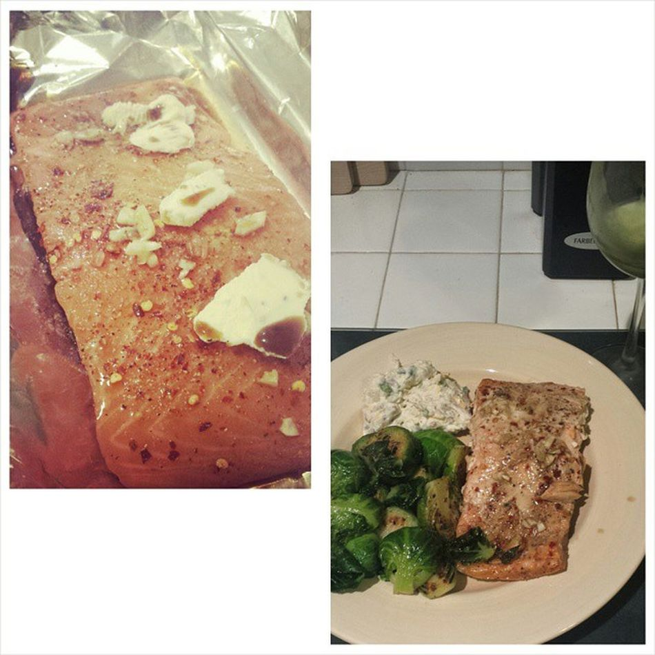 Before and after, salmon it's what's for dinner :) Dinner Salmon Brusselsprouts Loadedmash