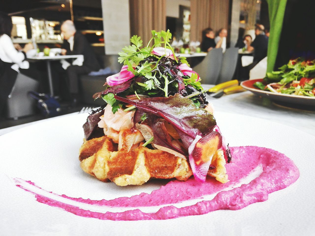 Business Lunch Gourmet Delicious French Food Decoration Salmon Salad Waffle