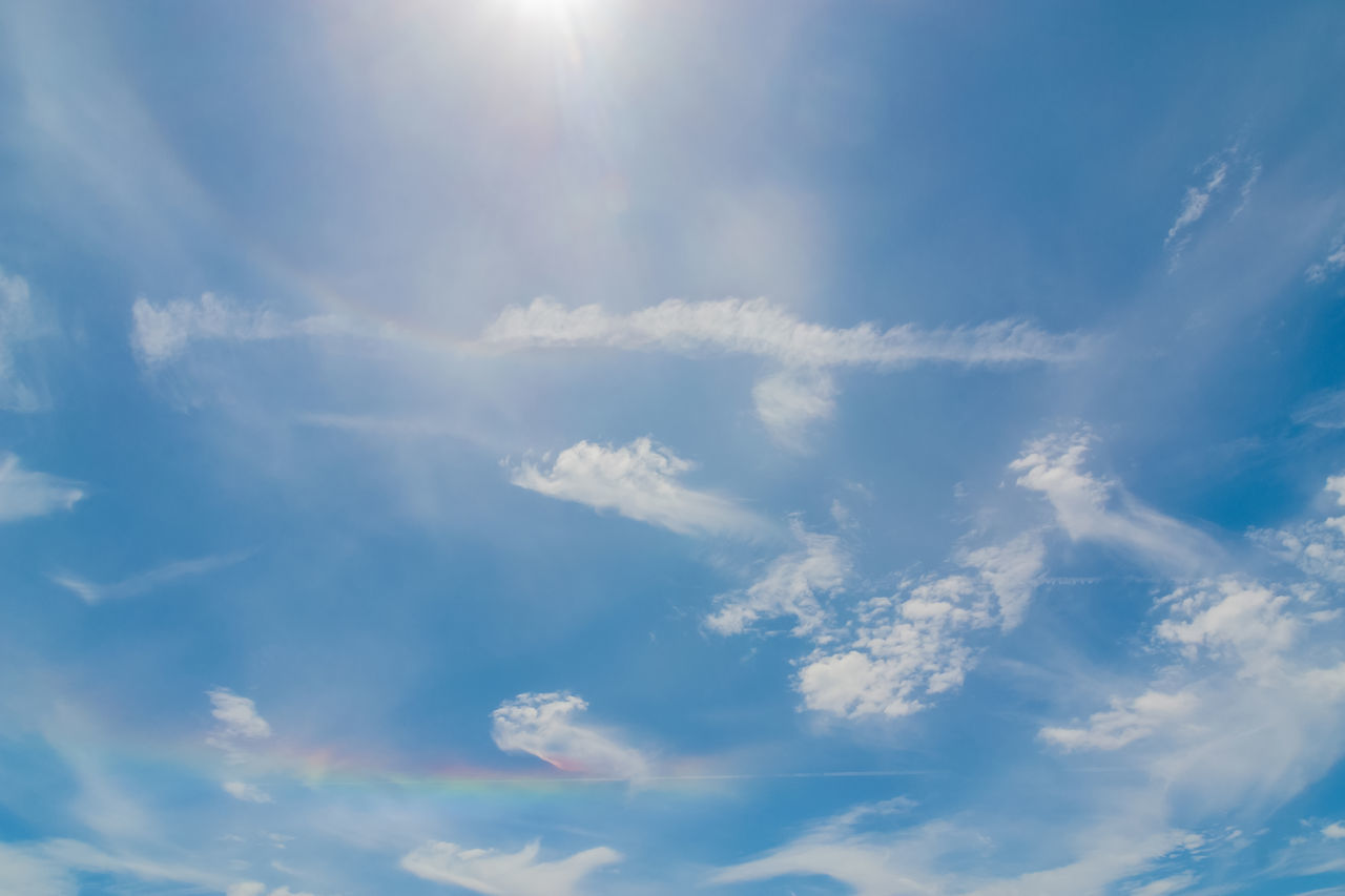 beauty in nature, sky, nature, cloud - sky, sunbeam, low angle view, sun, scenics, full frame, sunlight, tranquility, backgrounds, outdoors, day, sky only, no people, blue, tranquil scene