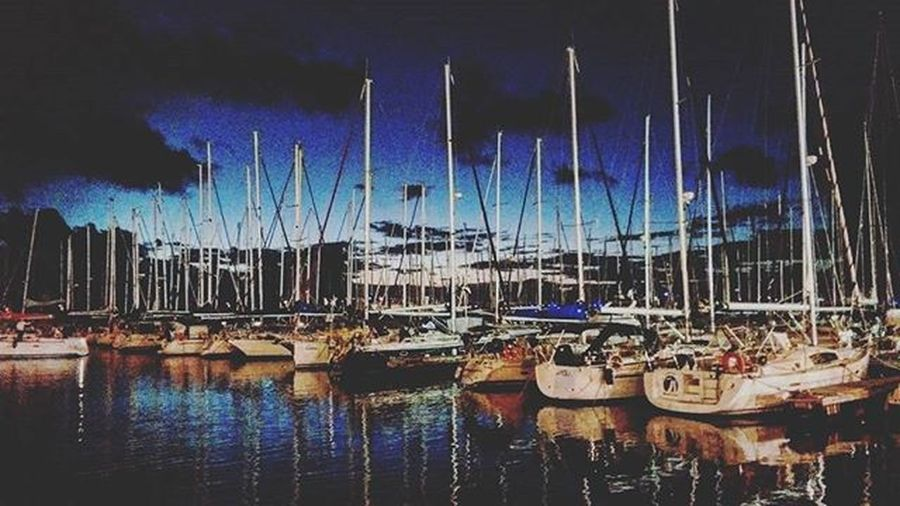 Every Boat and its Story Marina Herzeliya Sunset Sails Musts Water Medsea Mediterranean  Mediterraneansea Gettingdark Reflection Dock Yachts Perfect HTCDesireEye HTC