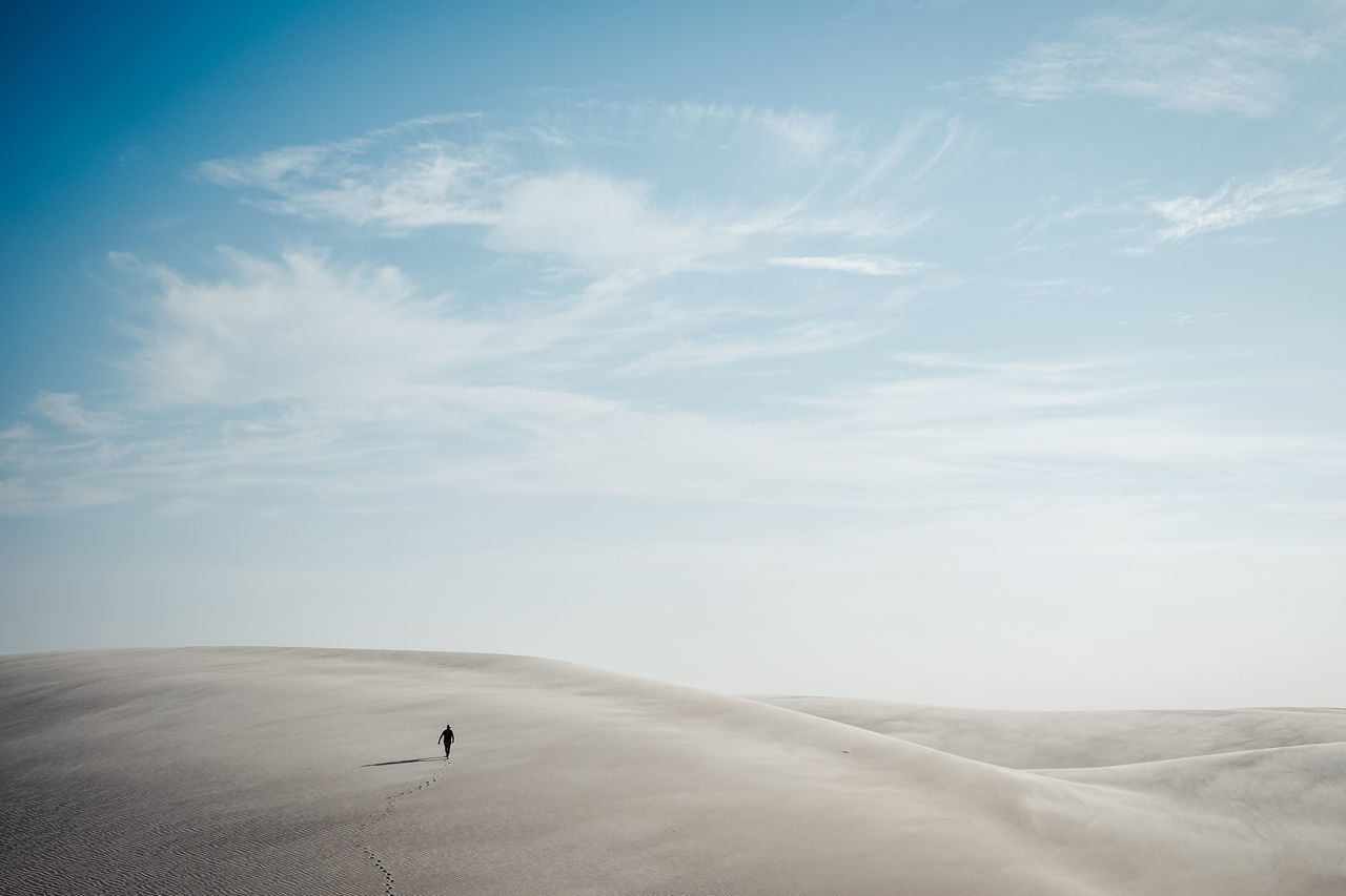 Lost in nature Atins Beauty In Nature Brasil Cloud - Sky Day Desert Landscape Lençóis Maranhenses Lost Lost In Paradise Nature One Person Outdoors People Real People Sand Dune Sky Tranquil Scene Tranquility Walk