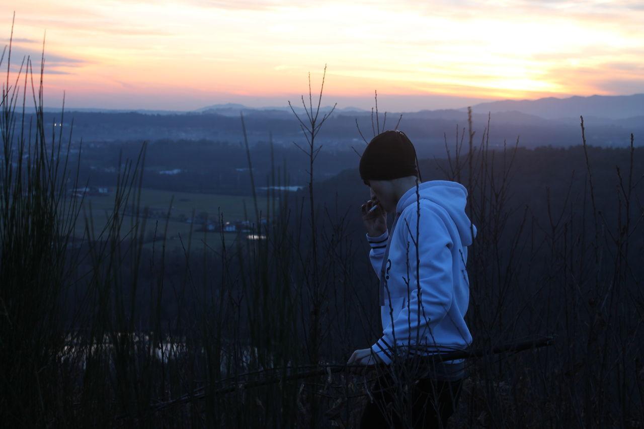 One Person Sunset Nature Men Outdoors OriginalPhoto Cigarette Time Travel Destinations Beauty In Nature Tranquility Landscape Sky