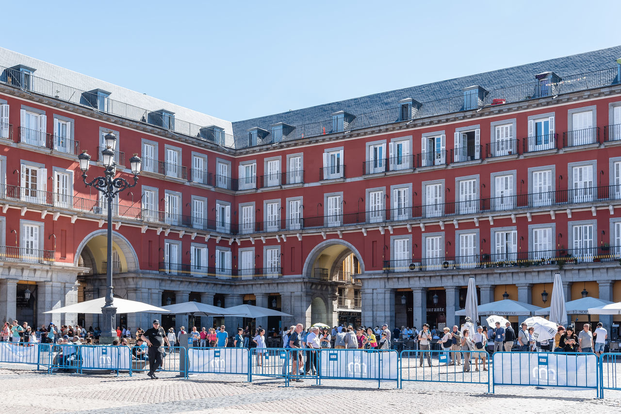 Plaza mayor of Madrid a sunny day of summer Architecture Madrid Place SPAIN Square Tourist Attraction  Tourists Travel Architecture Building Exterior Built Structure Capital Cities  Crowd Historical Landmark Large Group Of People Leisure Activity Lifestyles Old Plaza Mayor Real People Tourism Tourism Destination Tourist Destination Travel Destinations