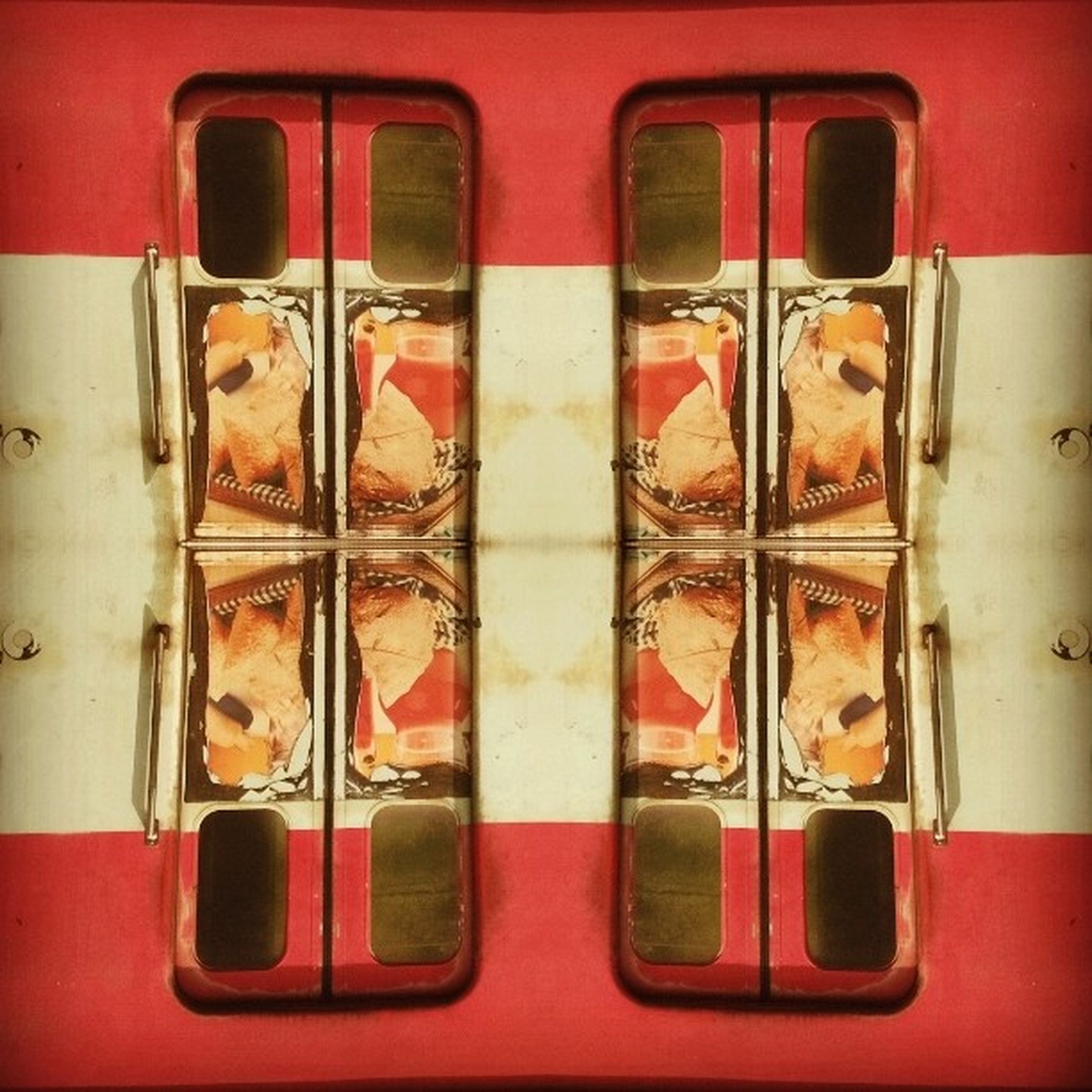 red, full frame, close-up, metal, indoors, side by side, backgrounds, in a row, still life, no people, glass - material, variation, day, metallic, multi colored, old, order, window, rusty
