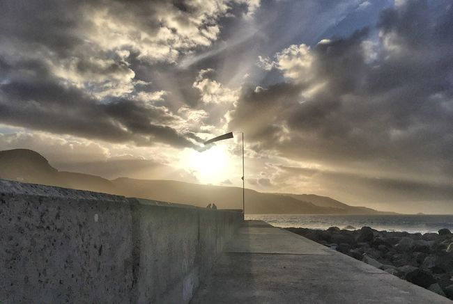 Sea Water Tranquil Scene Calm Tranquility Sky Scenics The Way Forward Cloud Coastline Ocean Nature Beauty In Nature Beach GranCanaria Islas Canarias Lascanteras Cloud - Sky Diminishing Perspective Day Footpath Moody Sky Solitude