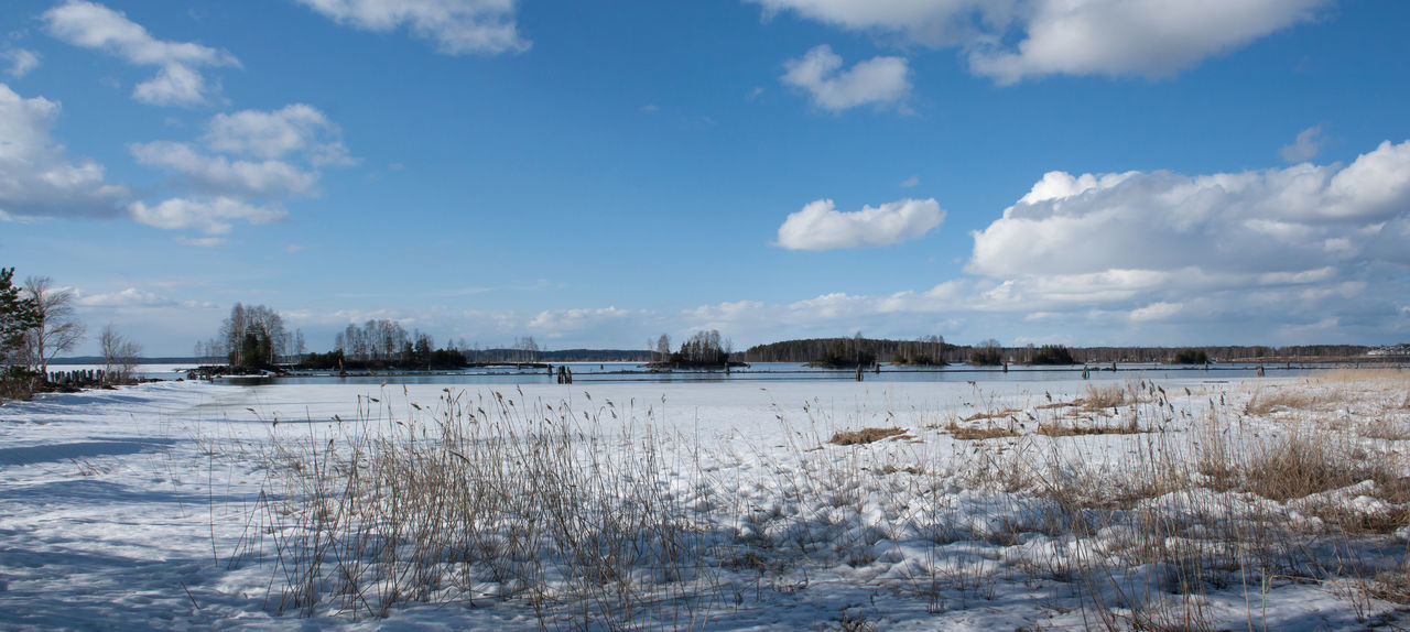 Beauty In Nature Cloud - Sky Cold Temperature Day Frozen Lake Landscape Nature No People Outdoors Panorama Sky Snow Tree Water Winter