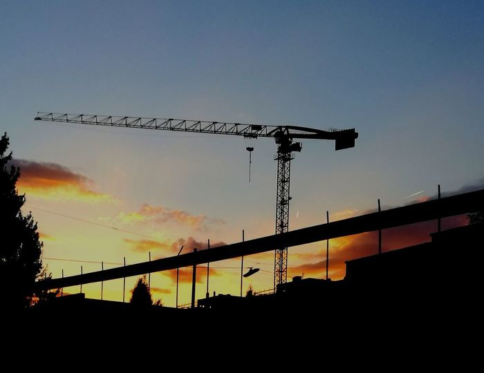 Silhouette Sunset Outdoors No People Bird Sky Day Nature Construction Site