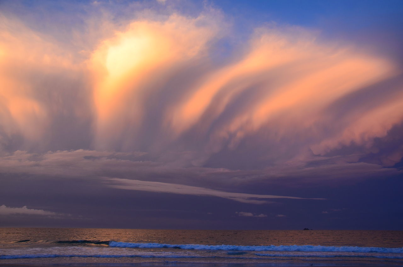 Beach Beauty Beauty In Nature Byron Bay Cloud - Sky Clouds By Jj Dramatic Sky Horizon Over Water Idyllic Nature No People Outdoors Scenics Sea Sky Space Sunset Tranquil Scene Water Weather