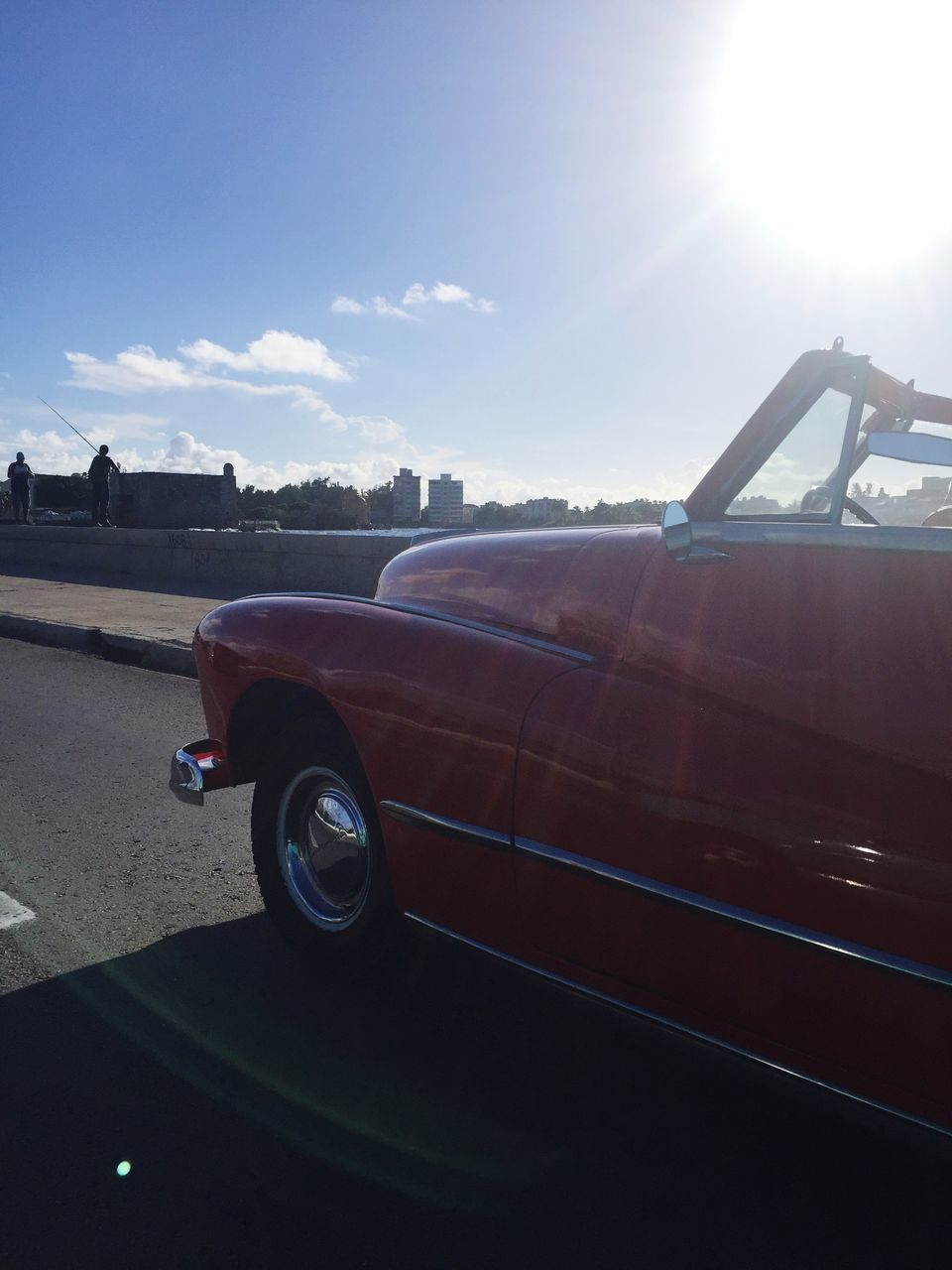 transportation, sunlight, car, old-fashioned, retro styled, land vehicle, sun, sky, red, day, no people, luxury, outdoors, close-up
