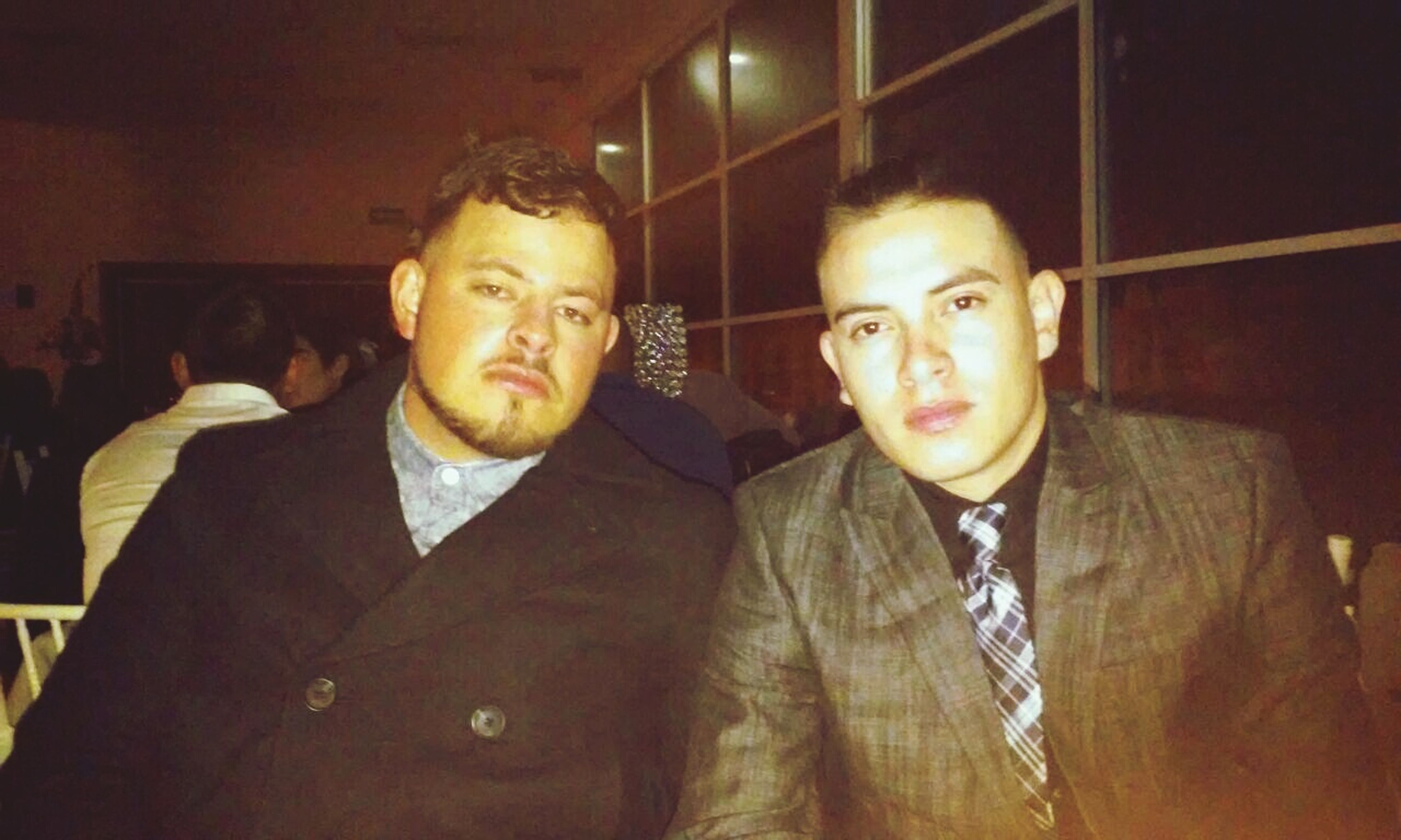 two people, indoors, businessman, lifestyles, real people, well-dressed, portrait, night, illuminated, togetherness, only men, adults only, people, adult