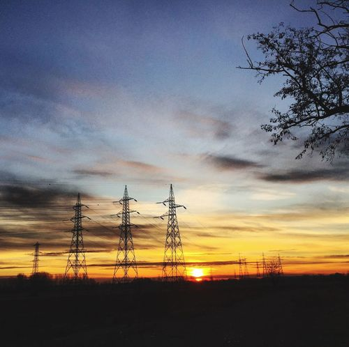 Connection Electricity  Electricity Pylon Sunset Silhouette Cable Power Supply Nature Tree Outdoors Day Sky Cloud - Sky