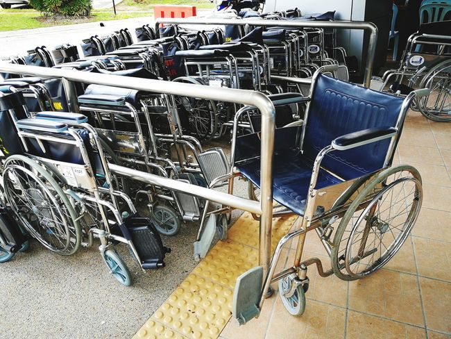 Chair High Angle View Day No People Outdoors Wheelchair Transportation Hospital Accessible Technology Outdoor Borrow