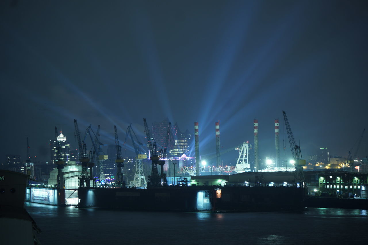 Built Structure Business Finance And Industry Elbphilharmonie Hamburg Harbor Harbour Illuminated Industry Long Exposure Metal Industry Motion Night No People Outdoors Refinery Reflection Sea Sky Urban Skyline Water