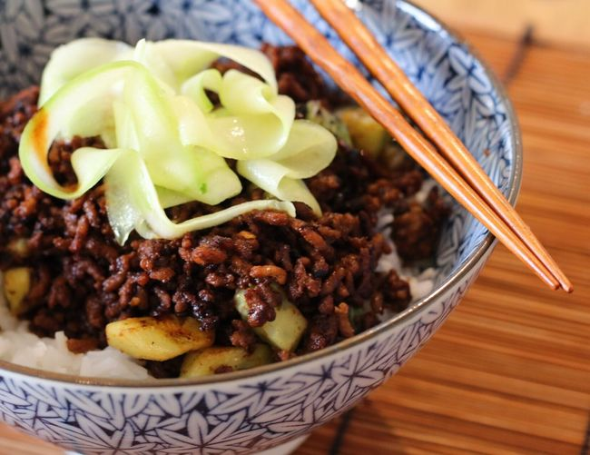 Chinese style minced pork and sticky rice with pickled cucumber Food And Drink Food Freshness Indoors  Close-up Healthy Eating Meal Ready-to-eat Bowl Vegetable Serving Size Main Course Appetizer Tomato Vegetarian Food Ready To Eat Cooked Indulgence