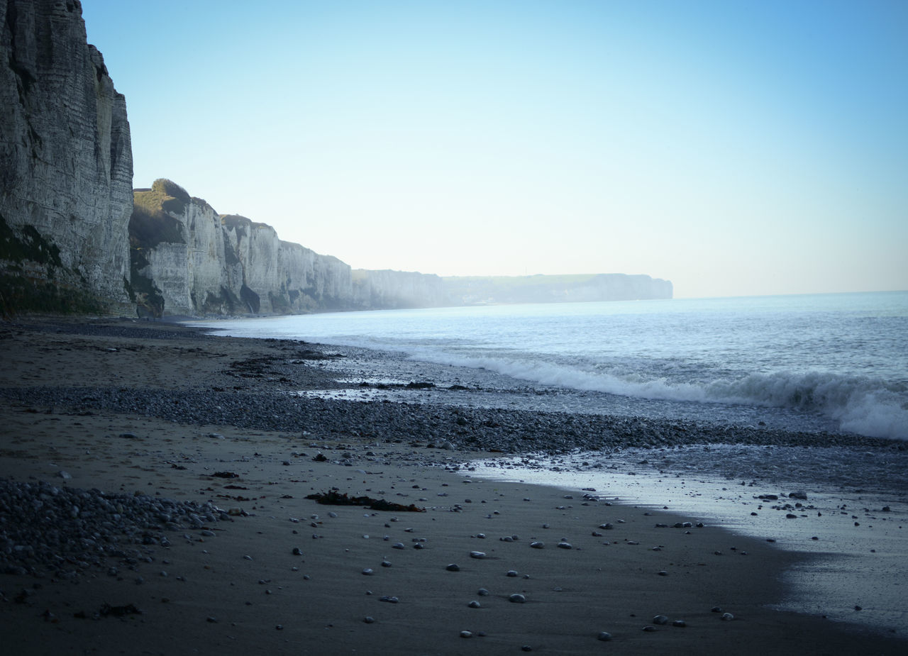 Beach Beauty In Nature Clear Sky Cliffs Landscape Landschaft Morning Light Morning Light In France No People Normandie Sand Collection Scenics Sea Travel Photography Traveling Wave BYOPaper!