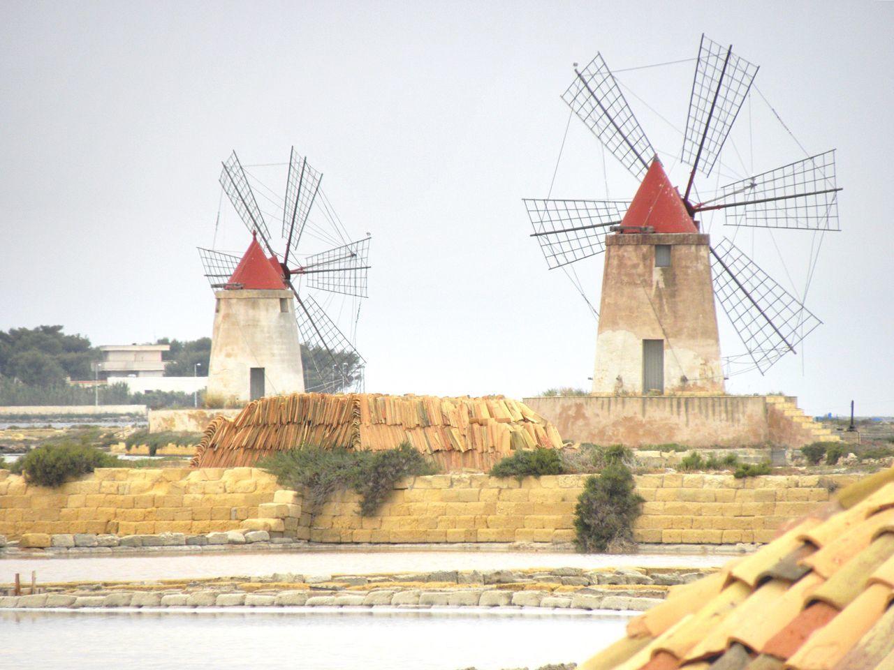 Trapani Salt Flats Salt Flat Salinas Windmill Wind Turbine Traditional Windmill Architecture No People Day Water Clear Sky Red Wind Power Alternative Energy Salt Scenics Sicily Waterfront