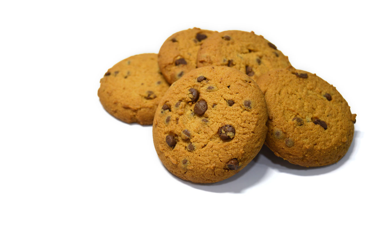Chocolate chips cookies isolated on white Bake Biscuit Breakfast Brown Calories Carbohydrate - Food Type Chocolate Chip Cookie Cookies Delicious Dessert Food Food And Drink Fresh Freshness Handmade No People Snack Snack Sweet Food Temptation White Background