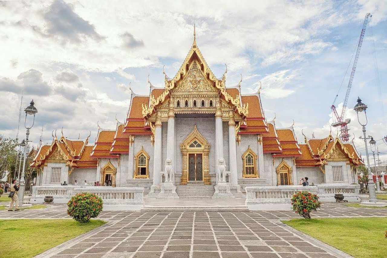 Marble temple Architecture Gold Colored Religion Outdoors Wat Buddhism Buddhist Temple Bangkok Thailand. Thailand Cloud - Sky