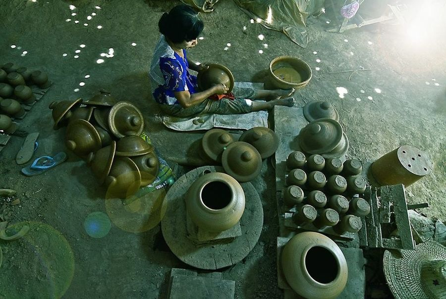 Traditional pot maker @downtown Myanmar Travel Photography Potrait_photography Bkkwavestudio Sport In The City Yangon, Myanmar Pot Maker