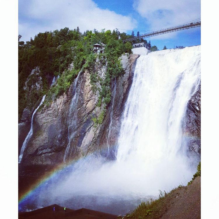 Waterfall Montmorency Falls Quebec Canada Summer Rainbow