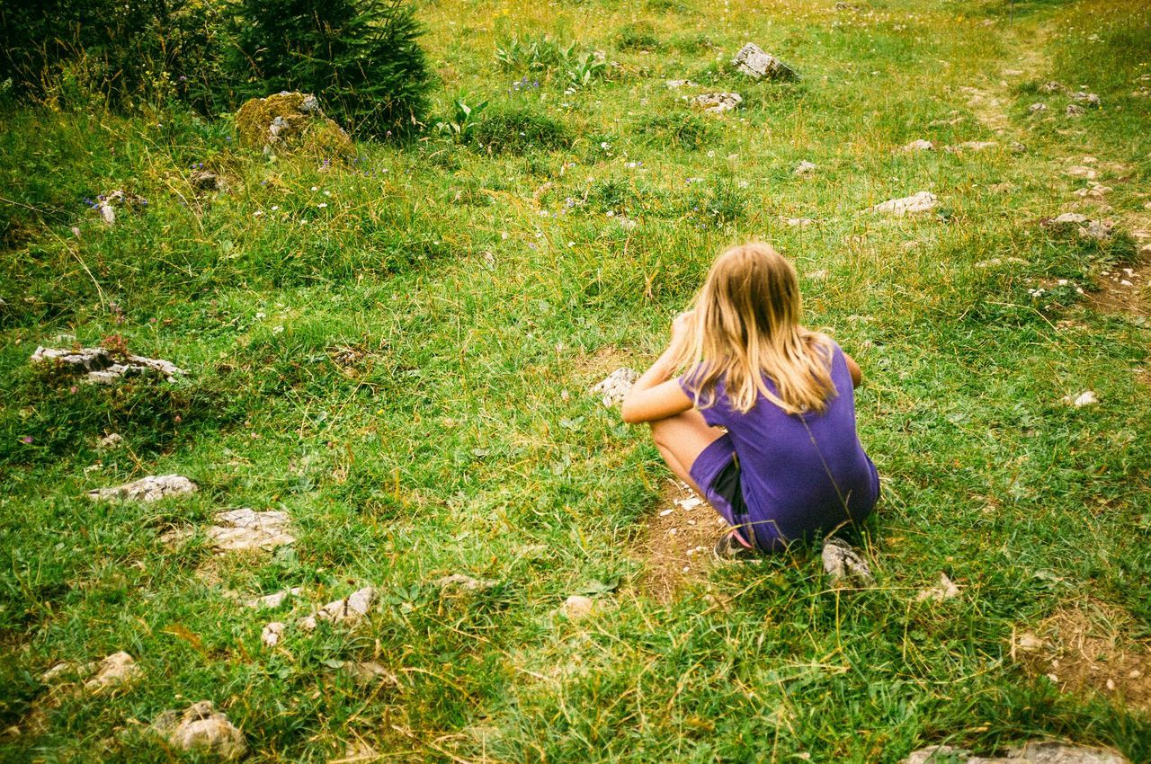 Blond Hair Day Girl Grass Hiking Landscape Lausanne Long Hair Nature One Person Outdoors Purple Sitting Swiss Alps Swiss Mountains Switzerland