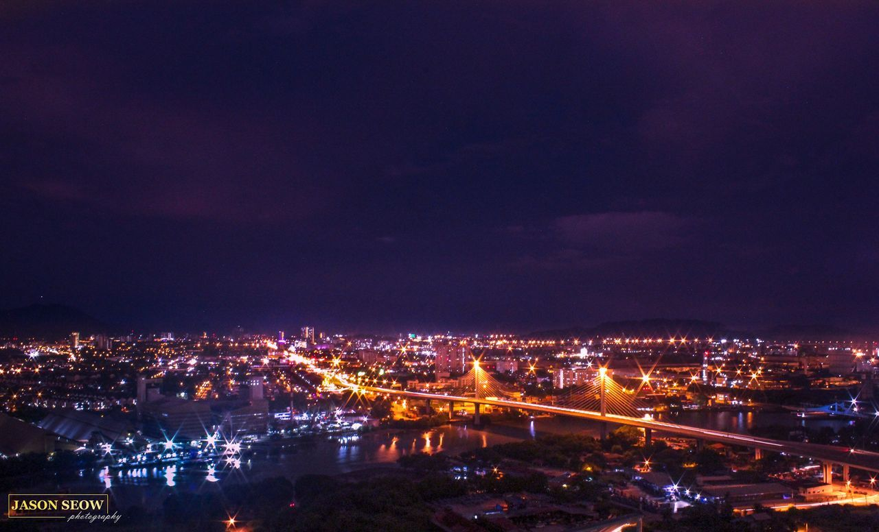 illuminated, architecture, night, built structure, building exterior, city, cityscape, sky, no people, outdoors, chain bridge