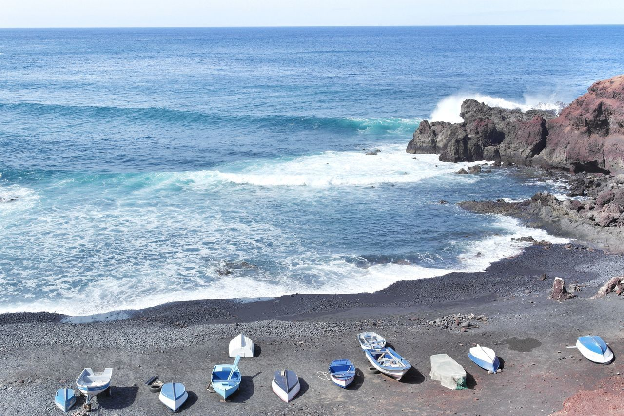 Beach Blue Blue Boat Boat Boats Calm Canaries Canary Islands Fishermen Boat Fishermen's Life Fishermenvillage Horizon Over Water Lanzarote Ocean Ocean Photography Sea Sea Life Sea View Seascape Shore SPAIN Water