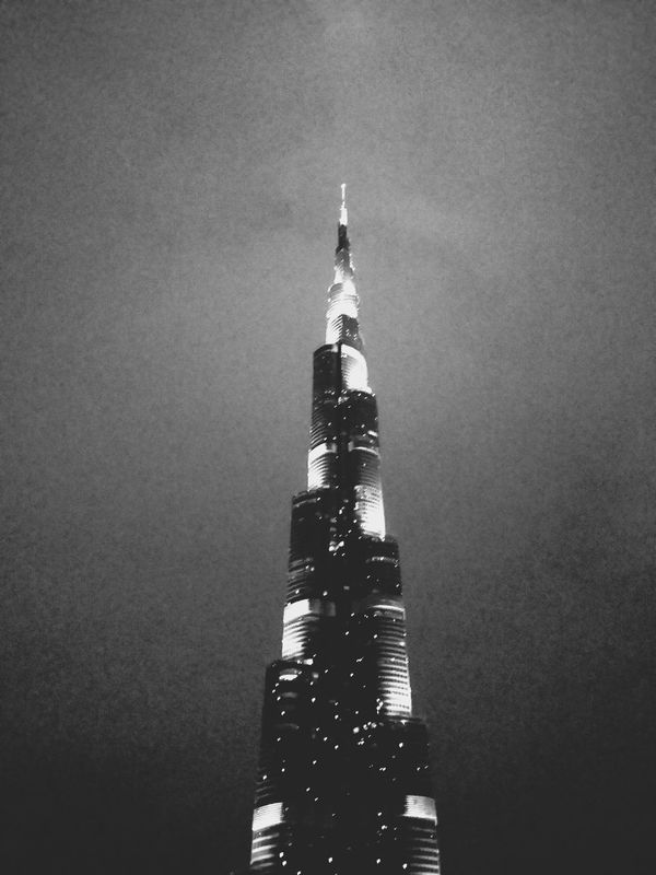 grainy burj khalifa. · Dubai United Arab Emirates UAE skyscraper Architecture monument landmark iconic buildings Night Lights Night Photography black and white monochrome