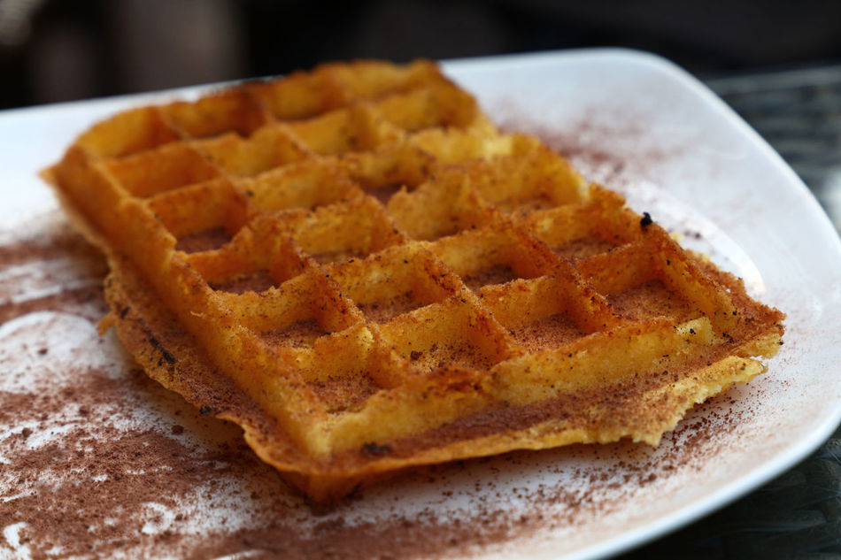 Sweet waffel gaufre with cinnamon and chocolate Baked Baking Pan Belgium Belgium Waffle Chocolate Close-up Cuisine Dessert Food Food And Drink French Freshness Gaufre High Angle View Homemade Indoors  No People Ready To Eat Ready-to-eat Sweet Food Sweet Pie Sweets Sweettooth Waffle