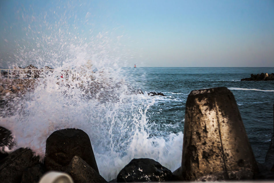 Eulsan Breakwater In Th Evening Korea Surge Tough Dangerous Sea Seaside Coast