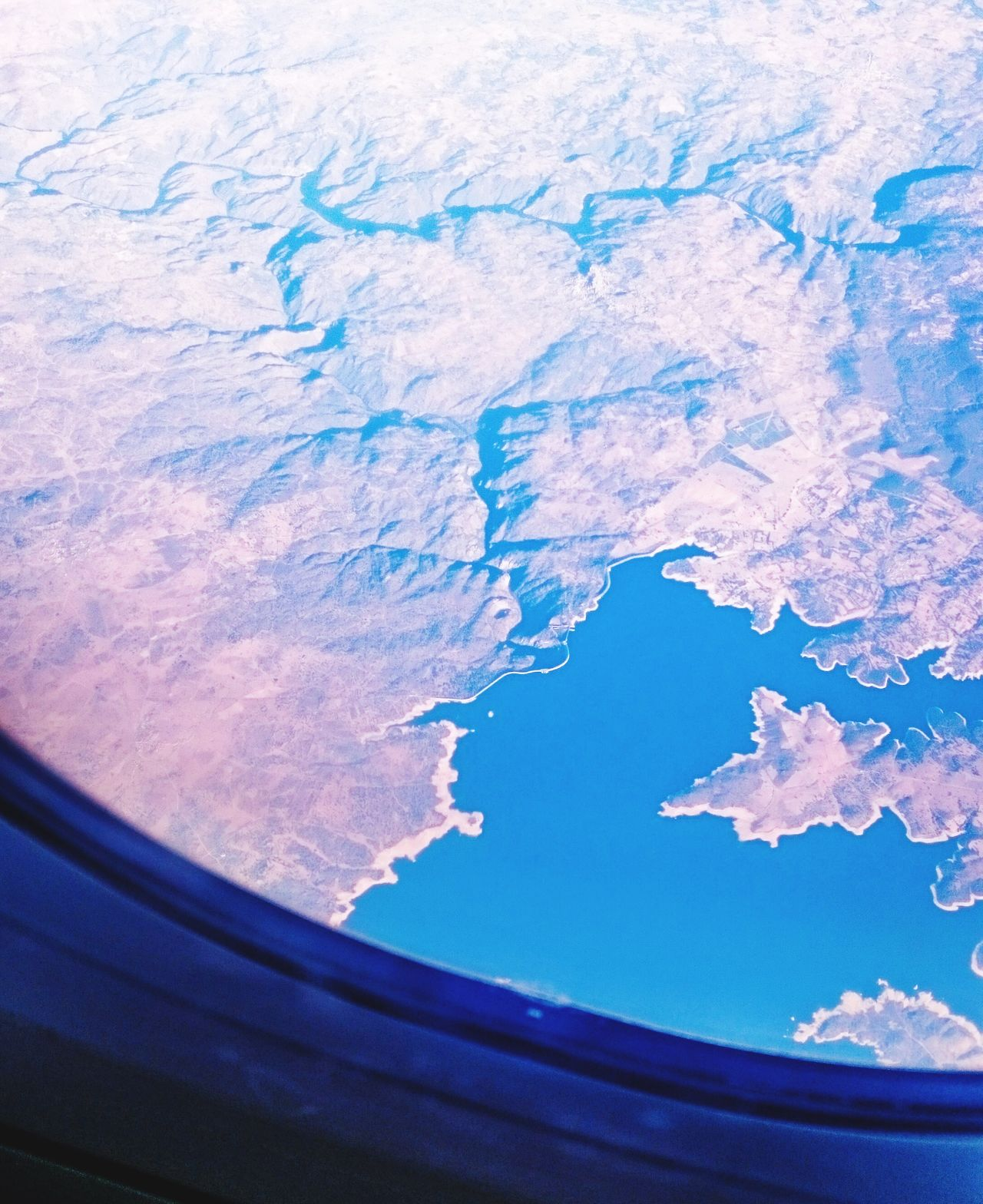 Flight over Spain Physical Geography Nature Scenics Mountain Sky Beauty In Nature Water Lake From An Airplane Window Flying Plane Airplane Dry Landscape Window View Mid-air SPAIN