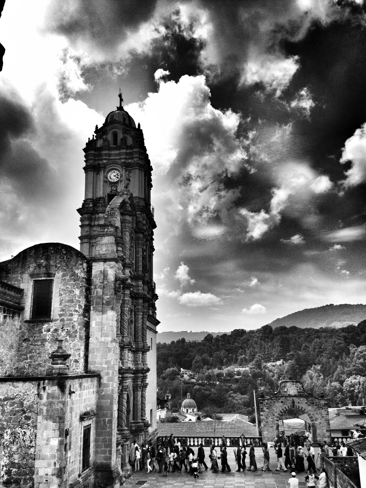 Architecture Landscape Clouds And Sky Church People This Picture Was Taken At Michoacan, Mexico Tlalpujahua Blackandwhite