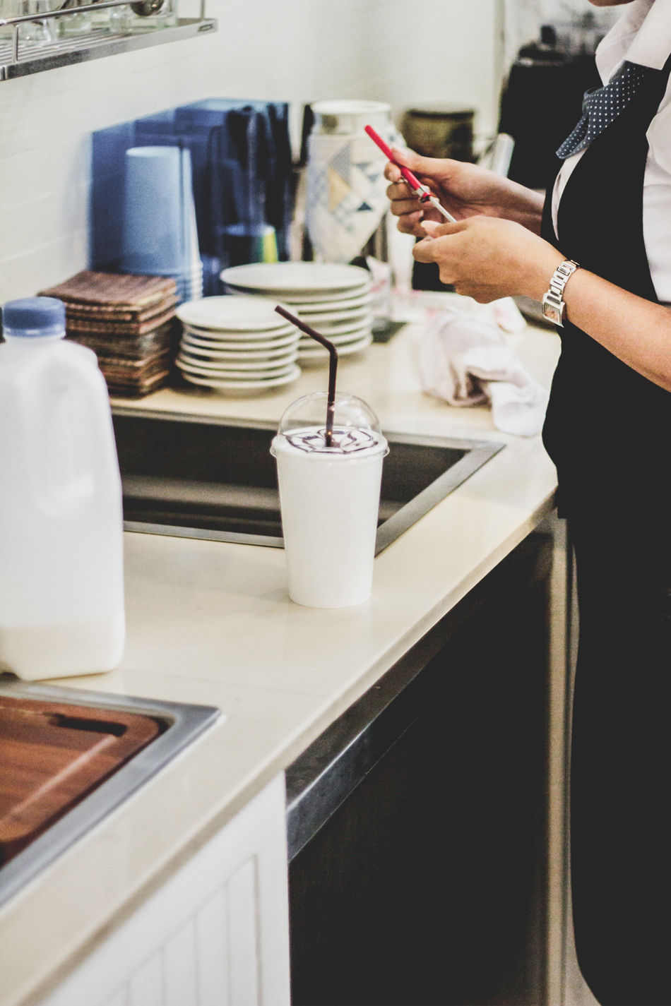 Beautiful stock photos of kaffee, Apron, Barista, Cafe, Coffee - Drink