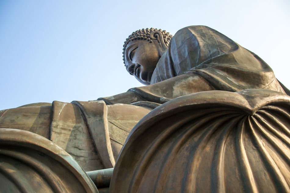 Bronze Buddha China Clear Sky Close-up Closeup Day Eye4photography  EyeEm Gallery EyeEm Nature Lover Gondola High Above Hiking Hill Island Lantau Island Lift Low Angle View Mountains Nature_collection Outdoors Sculpture Statue Tian Tan Buddha (Giant Buddha) 天壇大佛 Wide Angle