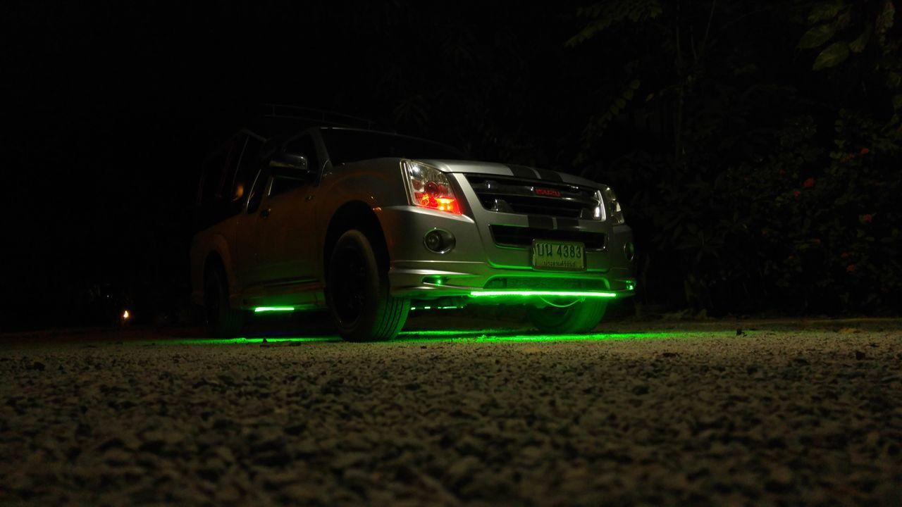 Dark Green Light Illuminated Land Vehicle Mode Of Transport Night No People Pickup Pickup Truck Pimp Pimp My Ride Pimped Up Cars Road Transportation