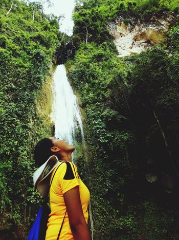 Lifestyles Leisure Activity Tree One Person Outdoors Standing Real People Nature Motion Water Nature Waterfall Forest Swim Adventure Chasing Waterfalls Waterfalls In Philippines Travel Destinations Green Color Waterfalls💦 Waterfalls And Mountains Mountaineering Mountain Climbing Mountainview Mountain Hiking